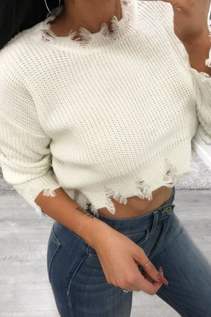 White Fashion Casual O Neck Long Sleeve Regular Sleeve Short Solid Tops