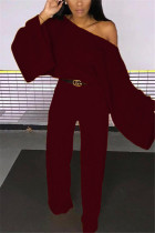 Wine Red Fashion Casual Polyester Twilled Satin Solid Pullovers Pants Oblique Collar Long Sleeve Flare Sleeve Regular Two Pieces