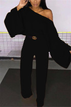 Black Fashion Casual Polyester Twilled Satin Solid Pullovers Pants Oblique Collar Long Sleeve Flare Sleeve Regular Two Pieces