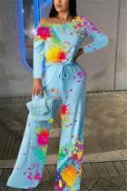 Blue Fashion Casual Oblique Collar Long Sleeve Regular Sleeve Regular Print Jumpsuits