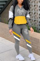 Gray Casual Sportswear Long Sleeve Zipper Collar Regular Sleeve Regular Letter Print Two Pieces