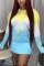 Yellow Blue Fashion Casual Regular Sleeve Long Sleeve Hooded Collar Mini Print Dresses