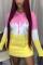 Pink Yellow Fashion Casual Regular Sleeve Long Sleeve Hooded Collar Mini Print Dresses