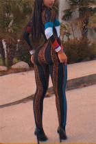 Black Fashion Casual Long Sleeve Regular Sleeve Skinny Patchwork Print Jumpsuits