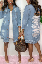 Light Blue Fashion Casual Turndown Collar Long Sleeve Regular Sleeve Solid Coats