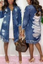 Deep Blue Fashion Casual Turndown Collar Long Sleeve Regular Sleeve Solid Coats