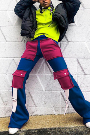 Blue Fashion Casual Straight Patchwork Trousers
