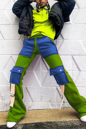 Green Fashion Casual Straight Patchwork Trousers