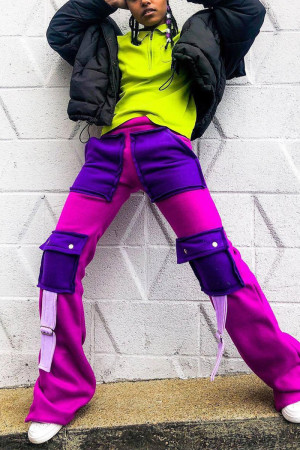 Purple Fashion Casual Straight Patchwork Trousers