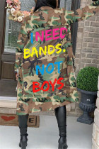 Camouflage Fashion Casual Turndown Collar Long Sleeve Regular Sleeve Letter Camouflage Print Coats