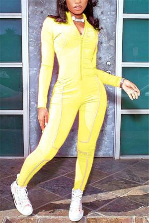 Yellow Fashion Sportswear Zipper Collar Long Sleeve Regular Sleeve Skinny Patchwork Jumpsuits
