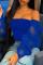 Deep Blue Fashion Sexy Strapless Long Sleeve Regular Sleeve Regular Solid Tops