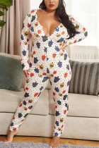 White Sexy Living Polyester Knitting Character Print Buttons V Neck Plus Size