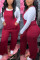 Red Casual Polyester Solid Pocket Jumpsuits