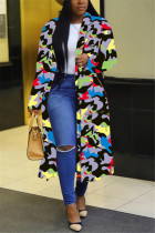 Camouflage Fashion Casual Turndown Collar Long Sleeve Regular Sleeve Print Coats