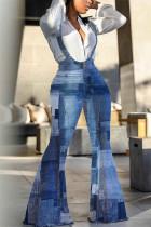 Blue Fashion Casual Sleeveless Tank Regular Print Sling Denim Jumpsuits