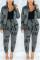 Gray Fashion Casual Long Sleeve Zipper Collar Regular Sleeve Regular Letter Print Two Pieces