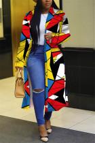 Multi Fashion Casual Turndown Collar Long Sleeve Regular Sleeve Print Coats