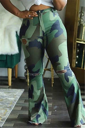 Army Green Sexy Camouflage Print Ripped Fold Straight Bottoms