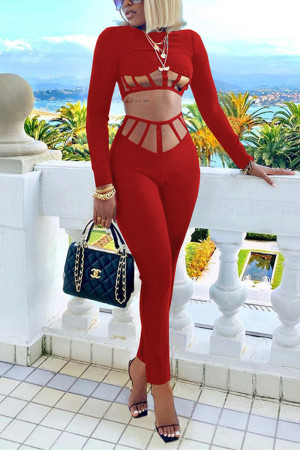 Red Fashion Sexy Long Sleeve O Neck Regular Sleeve Short Solid Two Pieces