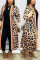 Leopard print cardigan Leopard Print Camouflage Lips Print Polyester Print Long Sleeve Outerwear