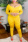 Yellow Fashion Sexy Adult Solid Split Joint V Neck Plus Size
