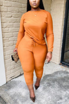 Orange Twilled Satin Solid O Neck Long Sleeve Regular Sleeve Regular Two Pieces