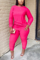 rose red Twilled Satin Solid O Neck Long Sleeve Regular Sleeve Regular Two Pieces