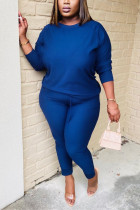 Blue Twilled Satin Solid O Neck Long Sleeve Regular Sleeve Regular Two Pieces