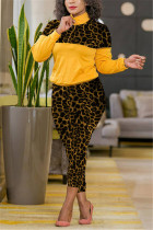 Yellow Fashion Casual Patchwork Print Leopard Zipper Collar Long Sleeve Two Pieces