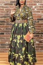 Army Green Sexy Print Split Joint V Neck Long Sleeve Floor Length A Line Dresses