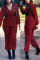 Wine Red Fashion Polyester Solid Zipper Collar Jumpsuits
