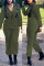 Army Green Fashion Polyester Solid Zipper Collar Jumpsuits