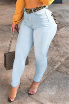 Light Blue Fashion Casual Skinny Patchwork Jeans