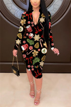 Black Fashion Casual Adult Twilled Satin Print Fold O Neck Long Sleeve Knee Length Printed Dress Dresses