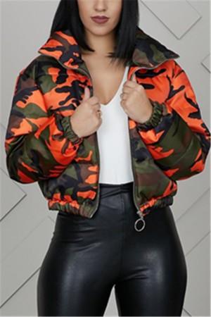 Orange Mandarin Collar Camouflage Polyester Others Long Sleeve  Blazer & Suits &Jacket