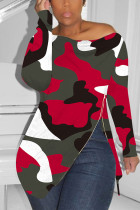 Zipped Slouchy neckline Red Fashion Sexy Camouflage Long-Sleeved T-Shirt
