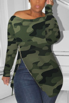 Zipped Slouchy neckline Green Fashion Sexy Camouflage Long-Sleeved T-Shirt