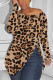 Zipped Slouchy neckline Leopard print Fashion Sexy Camouflage Long-Sleeved T-Shirt