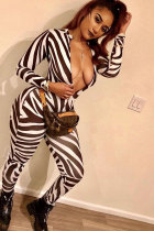Black Polyester Elastic Fly Long Sleeve Mid Print Zippered Skinny Pants  Jumpsuits & Rompers