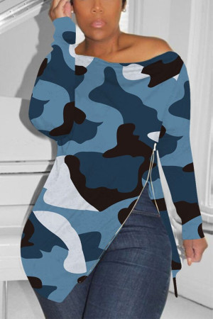 Zipped Slouchy neckline Blue Fashion Sexy Camouflage Long-Sleeved T-Shirt