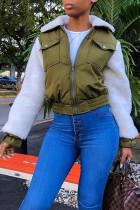 Army Green Sweet Patchwork Blending Jacket
