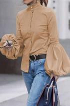 Khaki Fashion Bishop Sleeve Solid Tops