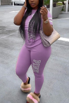 Purple Fashion Casual Letter Printed Two-piece Set
