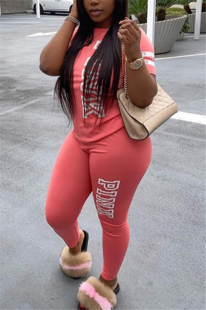 Pink Fashion Casual Letter Printed Two-piece Set