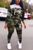 Army Green Polyester Casual Fashion Patchwork Camouflage Print Two Pieces