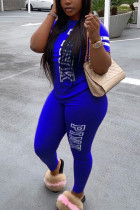 Blue Fashion Casual Letter Printed Two-piece Set