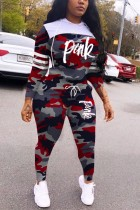 Red Polyester Casual Fashion Patchwork Camouflage Print Two Pieces
