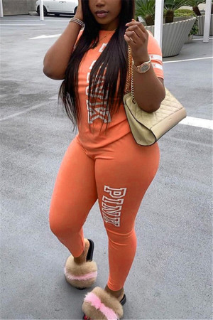 Orange Fashion Casual Letter Printed Two-piece Set