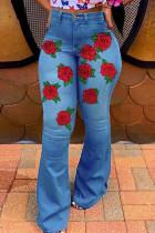 Blue Fashion Casual Print Basic High Waist Regular Jeans